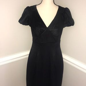 Arden B Black Silk Puff Sleeve Midi Dress Sz S